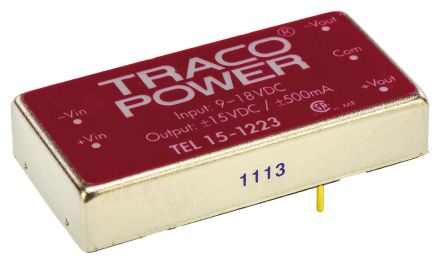 TRACOPOWER TEL 15 15W Isolated DC-DC Converter Through Hole, Voltage in 9 → 18 V dc, Voltage out ±15V dc