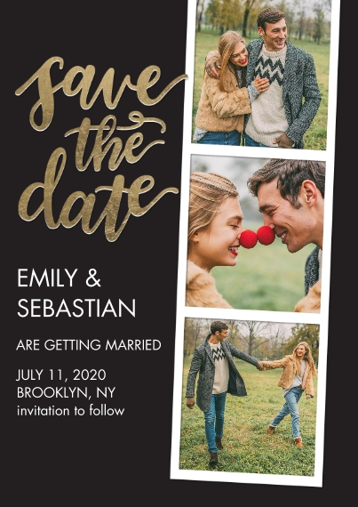 Save the Date 5x7 Cards, Standard Cardstock 85lb, Card & Stationery -Save the Date Filmstrip Gold