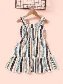 Toddler Girls Tribal Striped Ruffle Trim Slip Dress