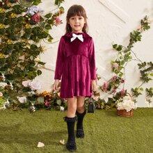 Vestidos para niña pequeña Lazo Liso Glamour