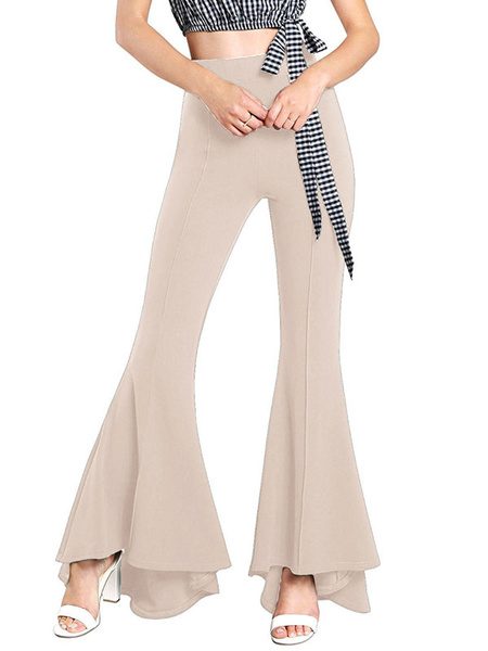 Milanoo Red Bell Bottom Trousers High Waist Stretchy Flare Pants