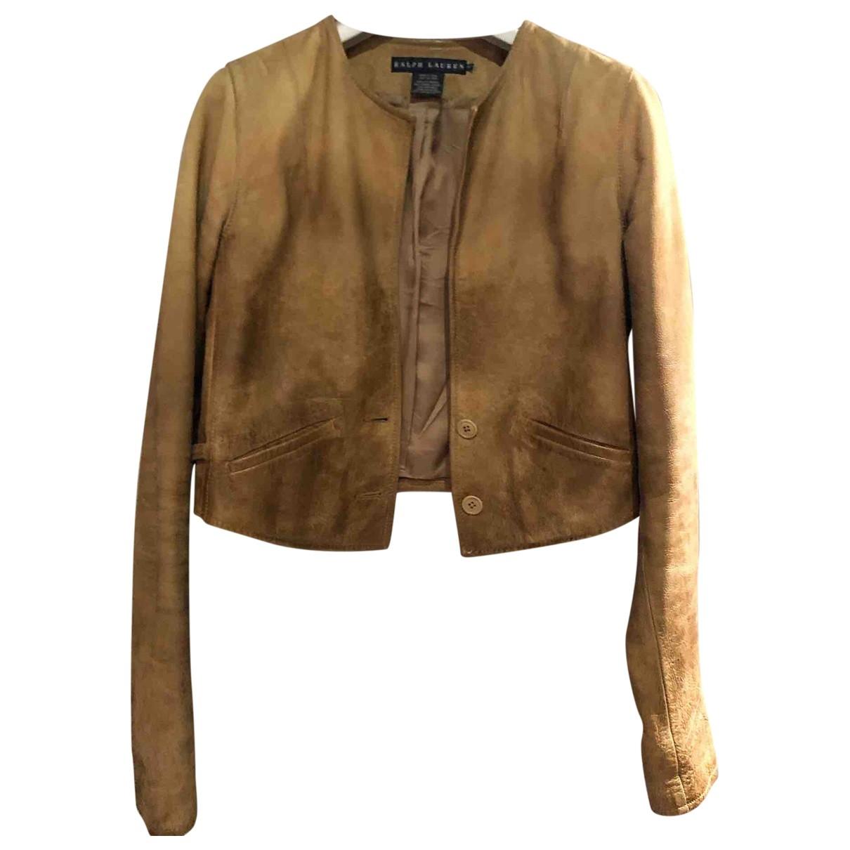 Ralph Lauren \N Beige Leather Leather jacket for Women 10 UK