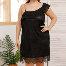 Plus Asymmetrical Neck Lace Overlay Dress