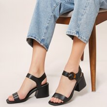 Square Toe Tortoise Buckle Chunky Heel Sandals