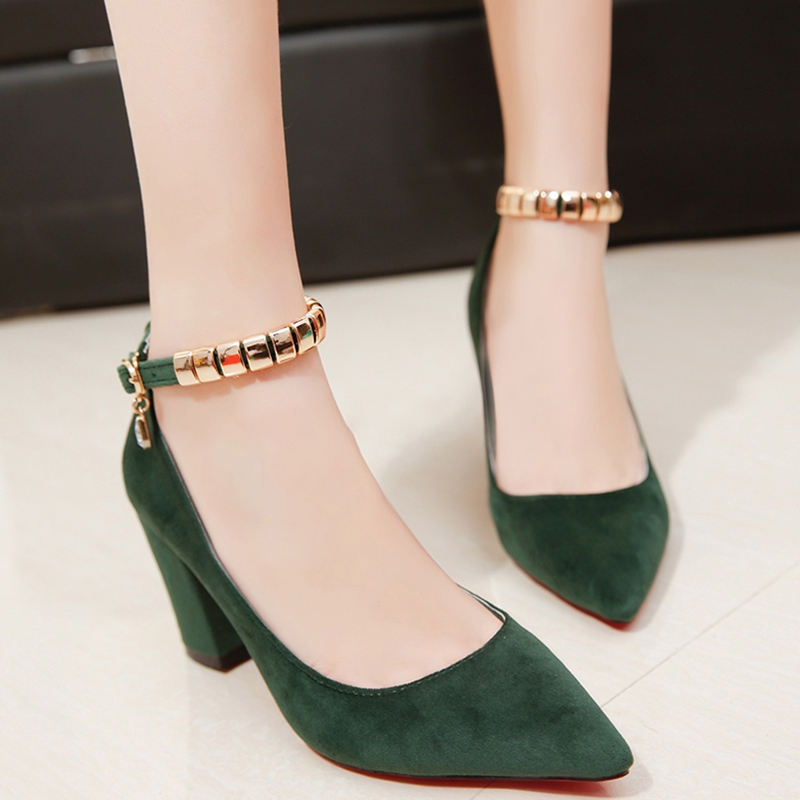Ericdress Suede Ankle Strap Point Toe Pumps