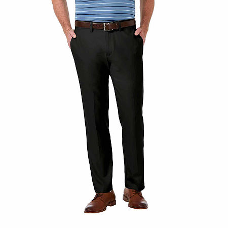 Haggar Cool 18 Pro Straight Fit Flat Front Pants, 38 34, Black