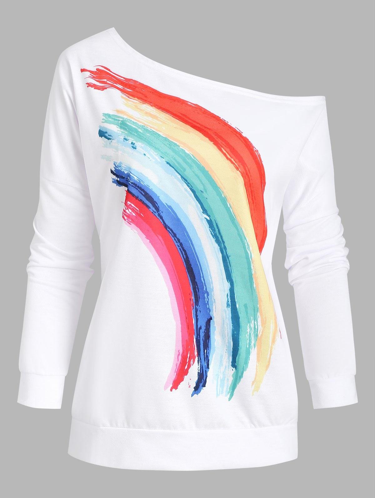 Skew Collar Rainbow Print Drop Shoulder Sweatshirt