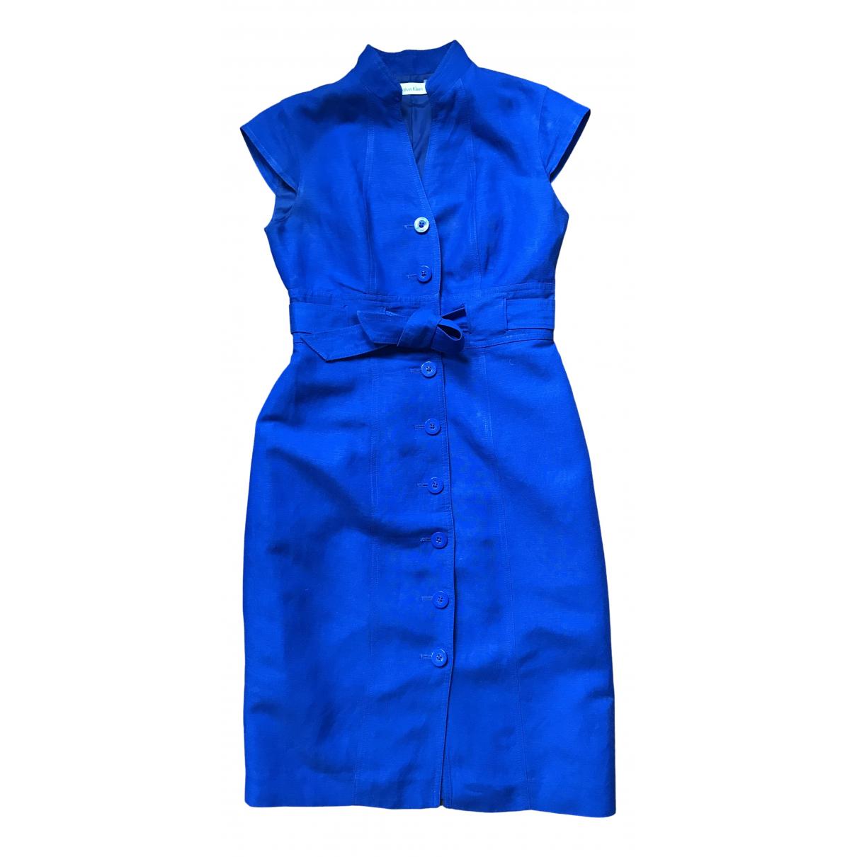 Calvin Klein \N Kleid in  Blau Leinen