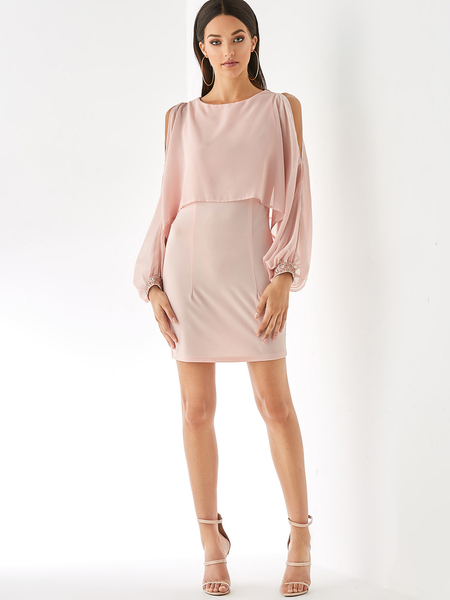 YOINS Pink Cut Out Cold Shoulder Long Sleeves Dress
