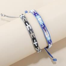 2pcs Bead Decor String Bracelet