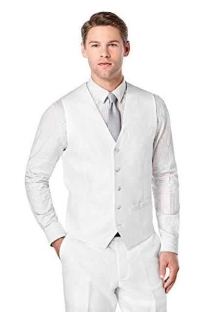 White Linen Vest & Pants Set Summer Outfit
