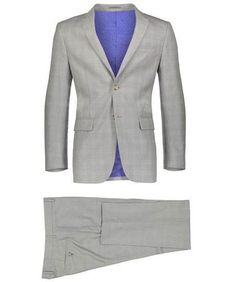 Mens Beige 2 Button Suit Window Pane ~ Plaid Suit ~ Blazer & Pants