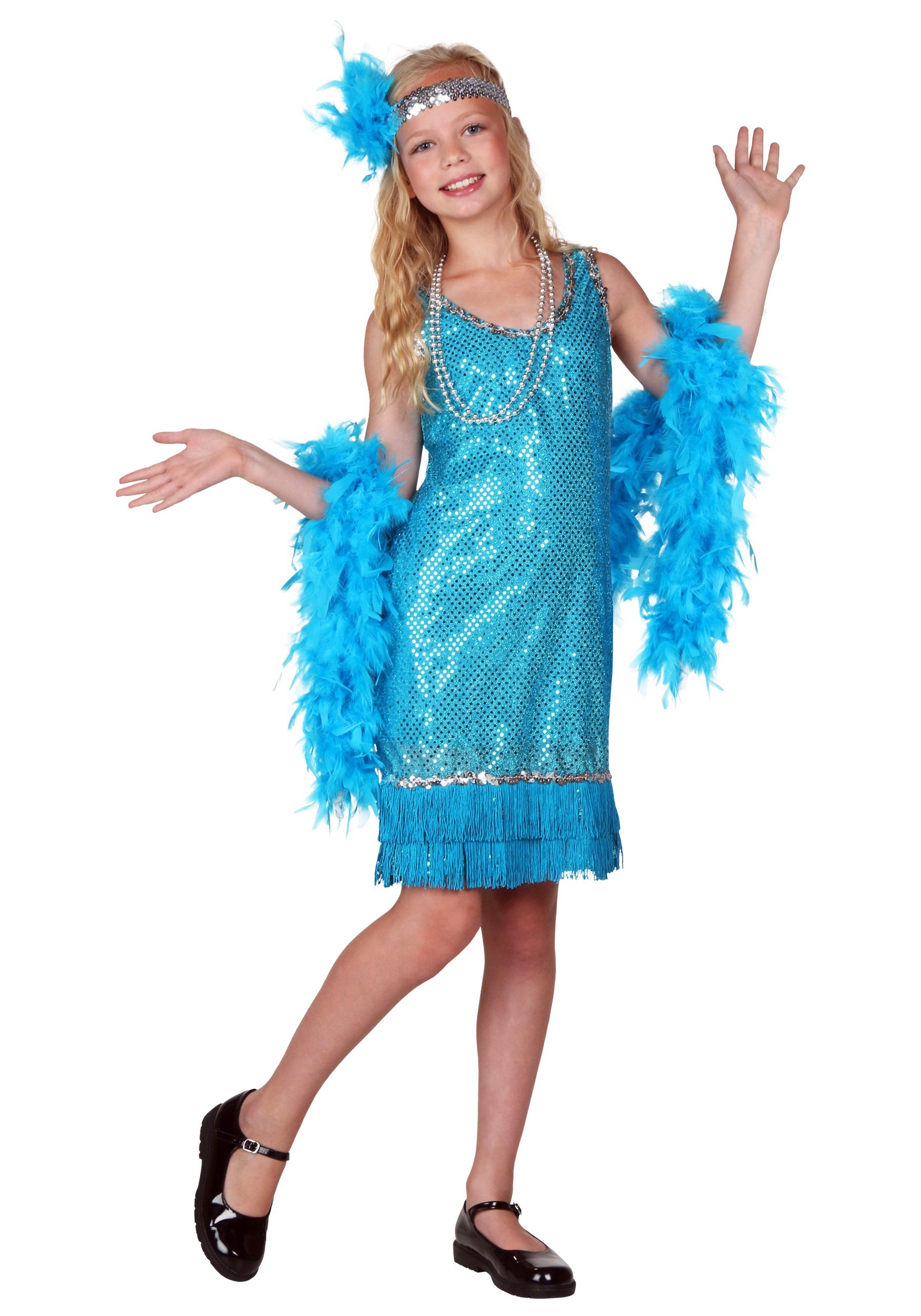 Turquoise Sequin and Fringe Flapper Costume For Kids