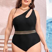 Einteiliger Badeanzug mit Ausschnitt und einer Schulter