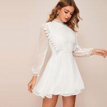 Kleid mit Guipure Spitzenbesatz und Punkten Muster