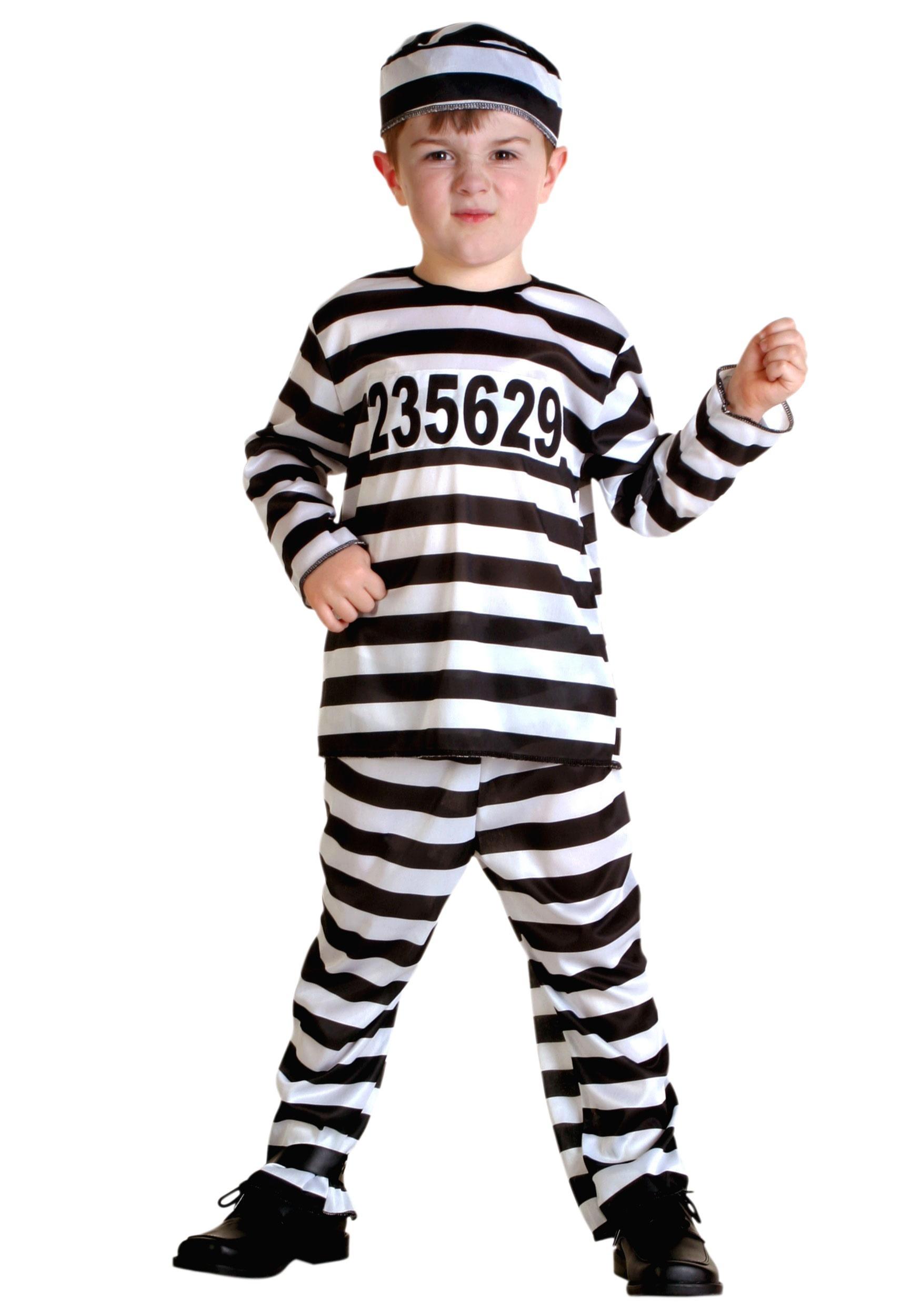 Striped Prisoner Costume for Toddlers | Jailbird Costume for Kids