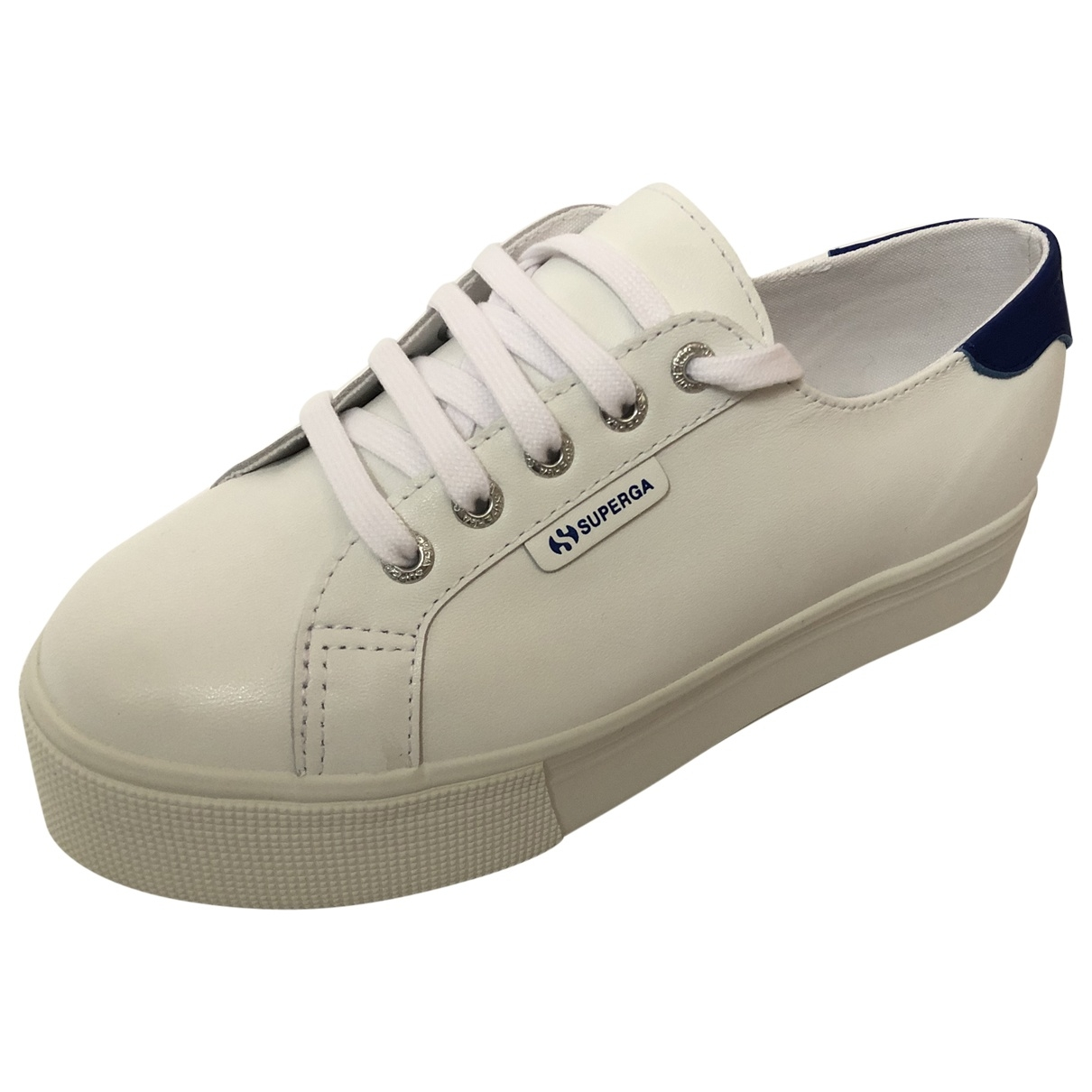 Superga \N White Leather Trainers for Women 38 EU