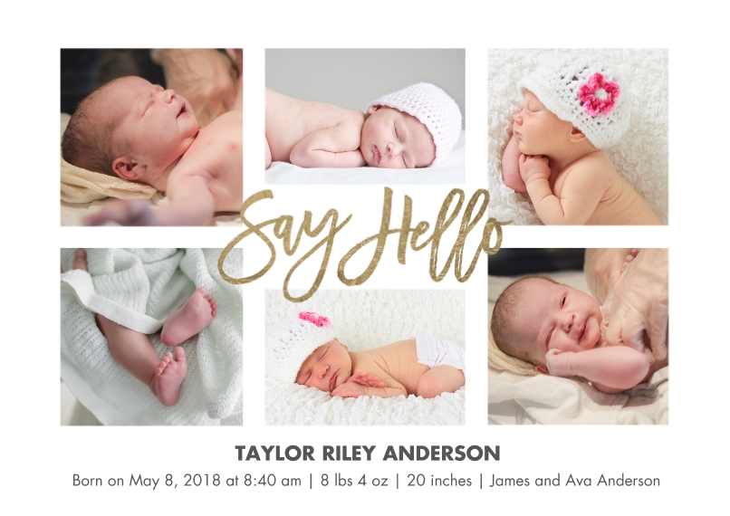 Baby Boy Announcements Flat Glossy Photo Paper Cards with Envelopes, 5x7, Card & Stationery -Baby Hello Script