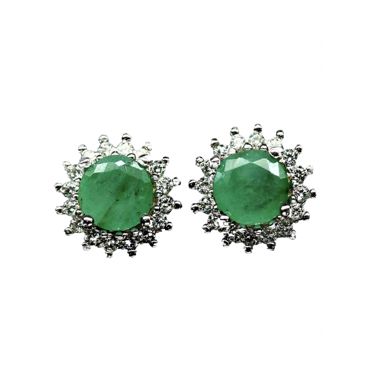 Non Signé / Unsigned Emeraude Green Silver Earrings for Women \N