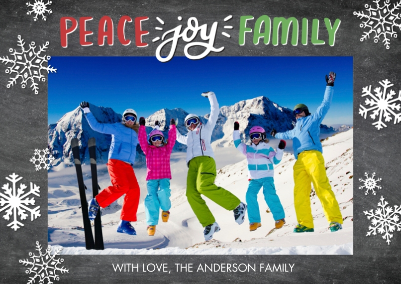 Holiday Photo Cards 5x7 Cards, Premium Cardstock 120lb with Rounded Corners, Card & Stationery -Holiday Peace Joy Family