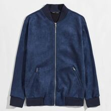 Guys Zip Up Suede Bomber Jacket