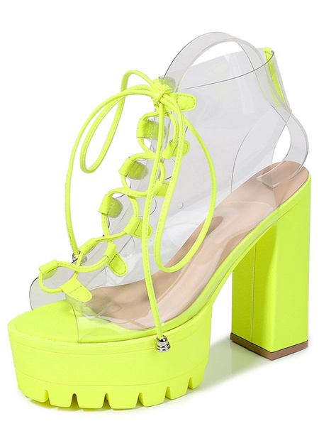 Milanoo Platform High Heel Sandals Womens Transparent Lace Up Peep Toe Chunky Heel Sandals