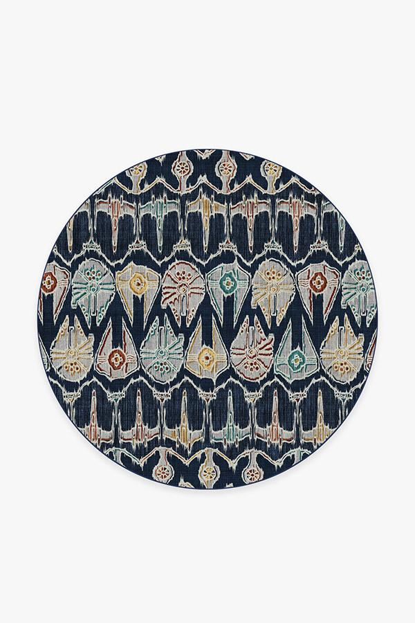 Washable Rug Cover | Corellian Ikat Navy Rug | Stain-Resistant | Ruggable | 6' Round