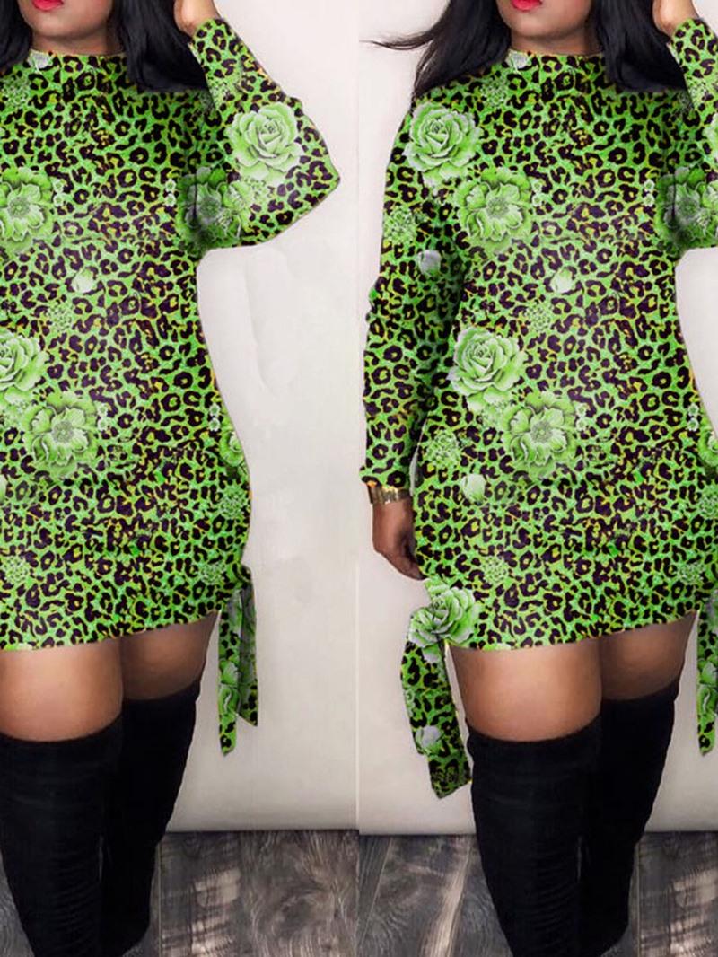 Ericdress Long Sleeve Above Knee Print High Waist Pullover Dress