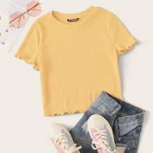 Ribbed Lettuce-Edge Cropped Tee