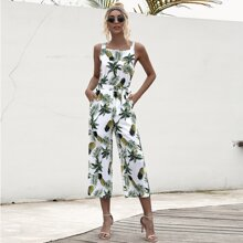 Pineapple & Tropical Print Belted Jumpsuit