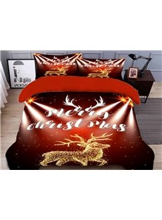 Christmas Deer Duvet Cover Set 3D Christmas 4-Piece Polyester Bedding Sets/Duvet Covers