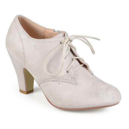 Journee Collection Womens Leona-Wd Booties Stacked Heel Wide Width, 11 Wide, Beige