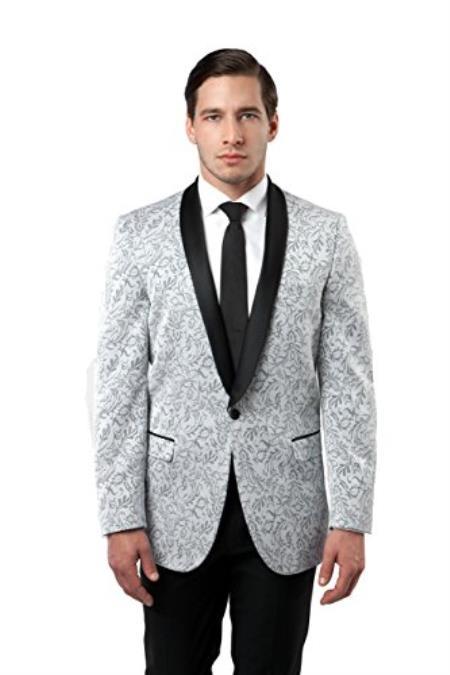 Mens Tazio 1 Button Shawl Collar Slim Fit Silver Blazer