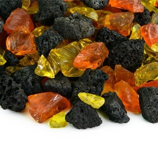 Fire Glass Lava Blends | Indoor and Outdoor Fire Pits or Fireplaces | 10 Pounds - 3/8 Inch - 3/4 Inch (Gold)
