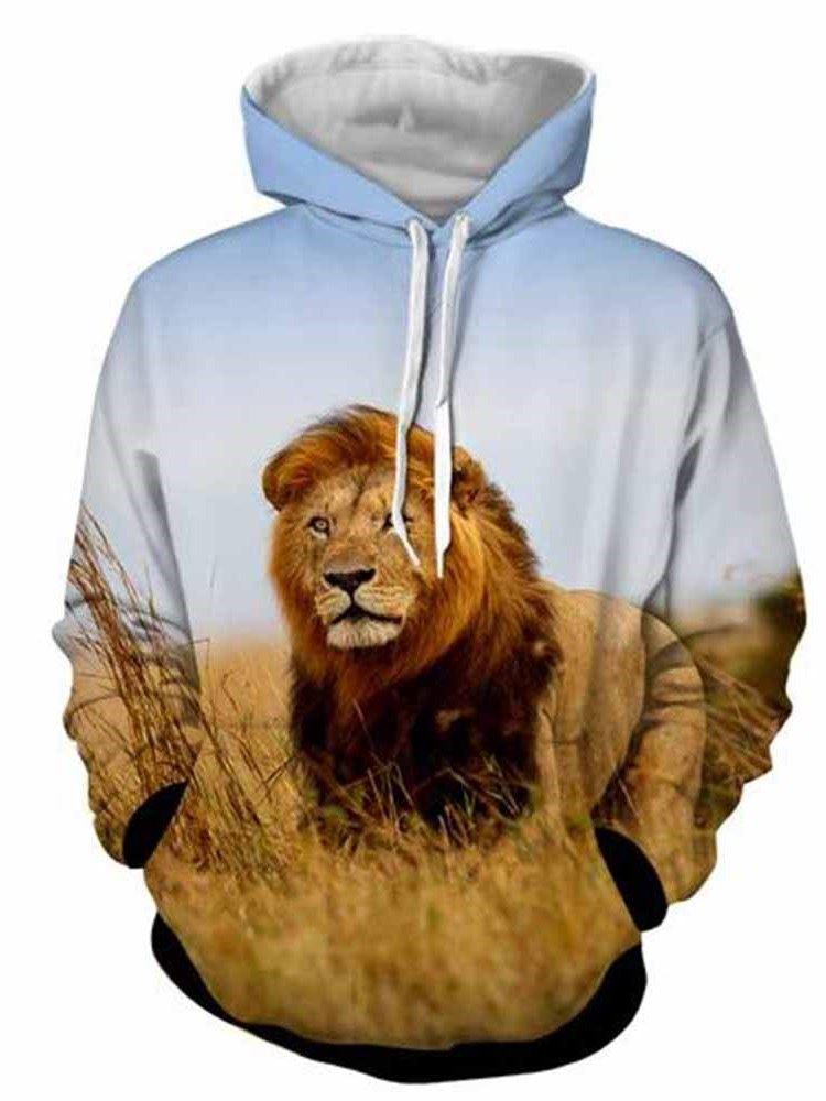3D Realistic Digital Print Soft and Casual Pullover Hoodie Hooded Sweatshirt