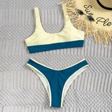 Bikini Badeanzug mit hohem Ausschnitt