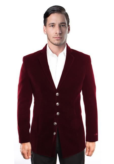 Men's 5 Button Velvet Single Breasted Notch Lapel Blazer Jacket