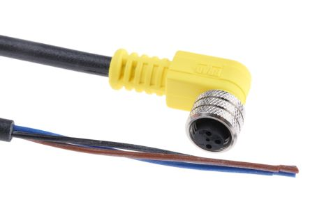 Brad Straight M8 to Unterminated Cable assembly, 3 Core 2m Cable