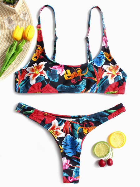 Yoins Scoop Neck High Cut Floral Spaghetti Bikini