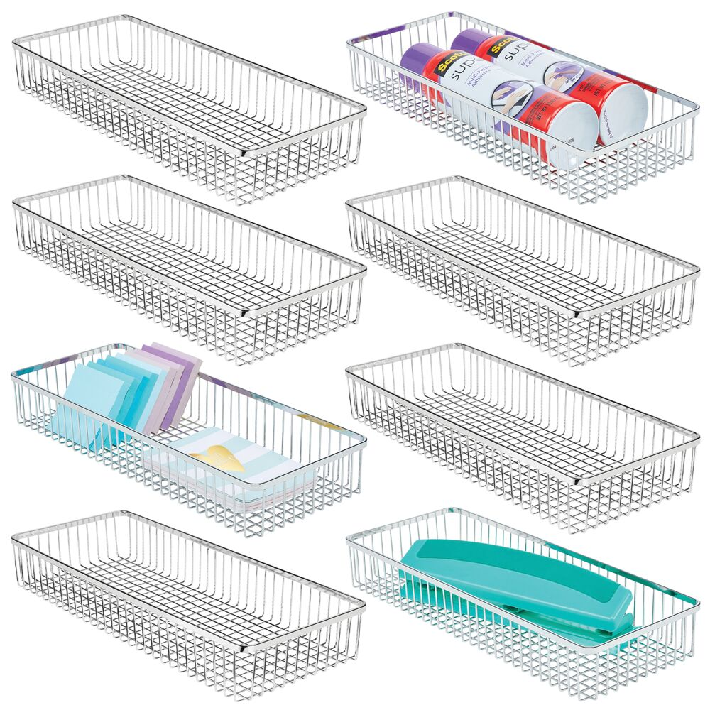 mDesign Metal Wire Drawer Organizer for Office in Chrome, 15.25