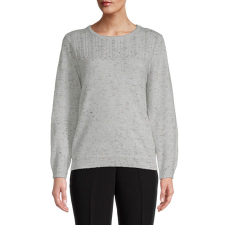 Alfred Dunner Classics Womens Crew Neck Long Sleeve Pullover Sweater, X-large , Beige