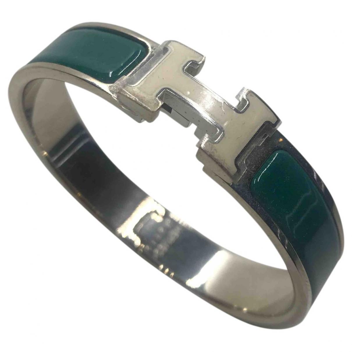 Hermes Clic H Armband in  Gruen Metall