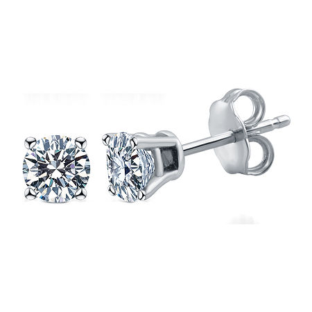 Deluxe Collection 1/2 CT. T.W. Genuine White Diamond 14K White Gold 3.8mm Stud Earrings, One Size , No Color Family