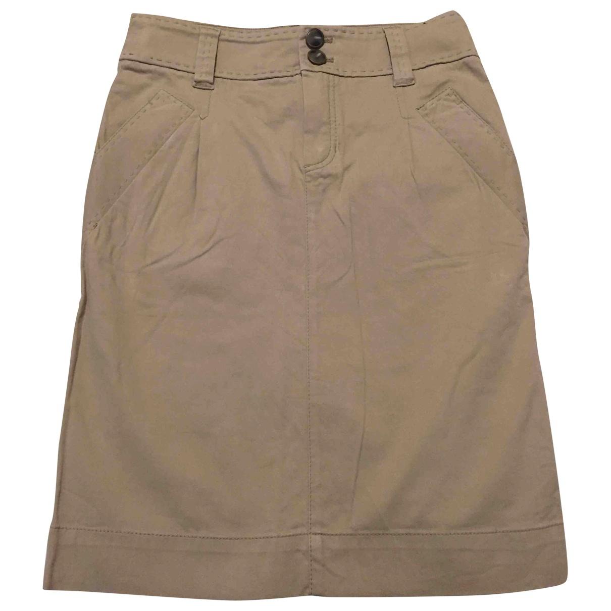 Massimo Dutti - Jupe   pour femme en coton - elasthane - beige