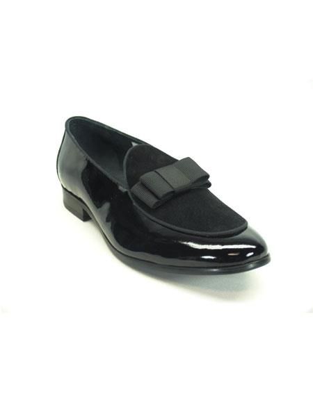 Mens Carrucci Shiny Slip On Formal Black Dress Shoes With Bow