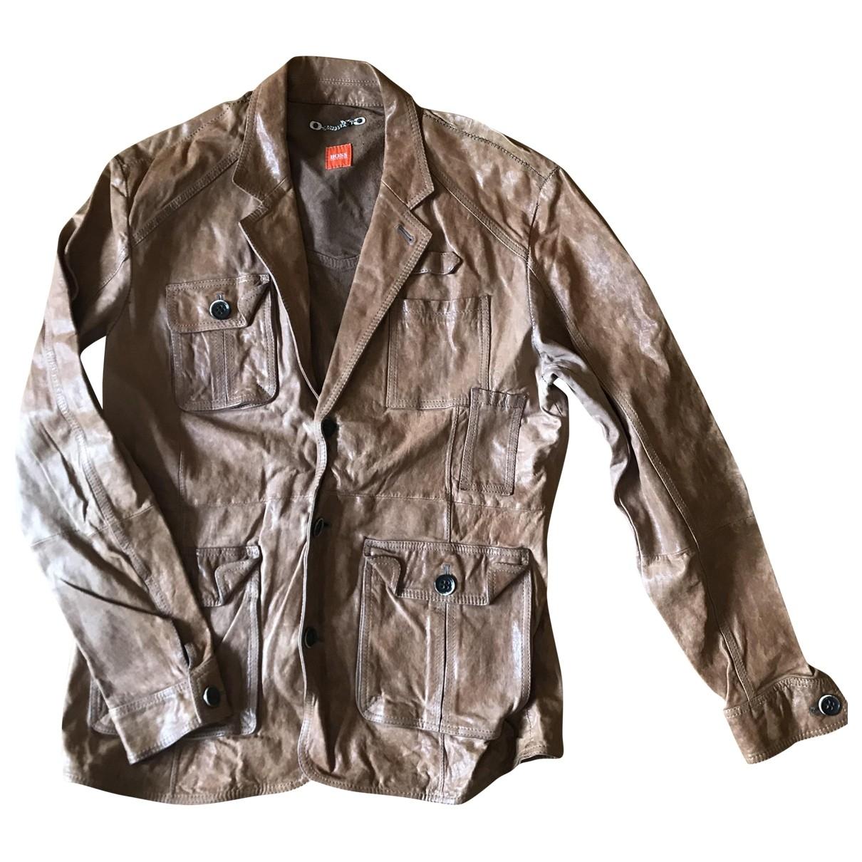 Boss \N Brown Leather jacket  for Men L International
