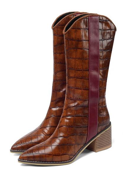 Milanoo Botas Cowboy Mujer Botas de media pantorrilla para mujer Botas de tacon grueso con punta puntiaguda de 2.4
