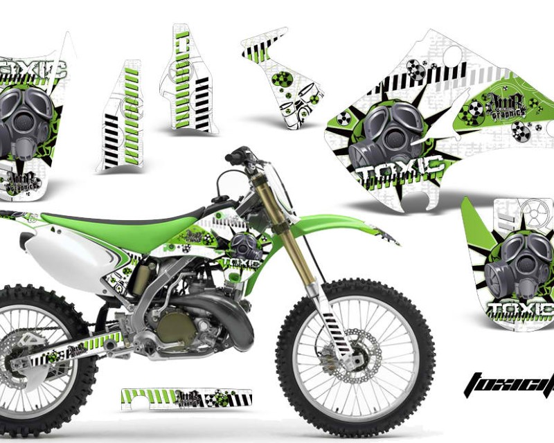 AMR Racing Dirt Bike Decal Graphics Kit Wrap For Kawasaki KX125 | KX250 2003-2016áTOXIC GREEN WHITE