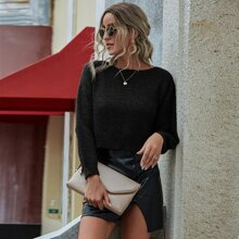 Solid Ribbed Knit Drop Shoulder Sweater