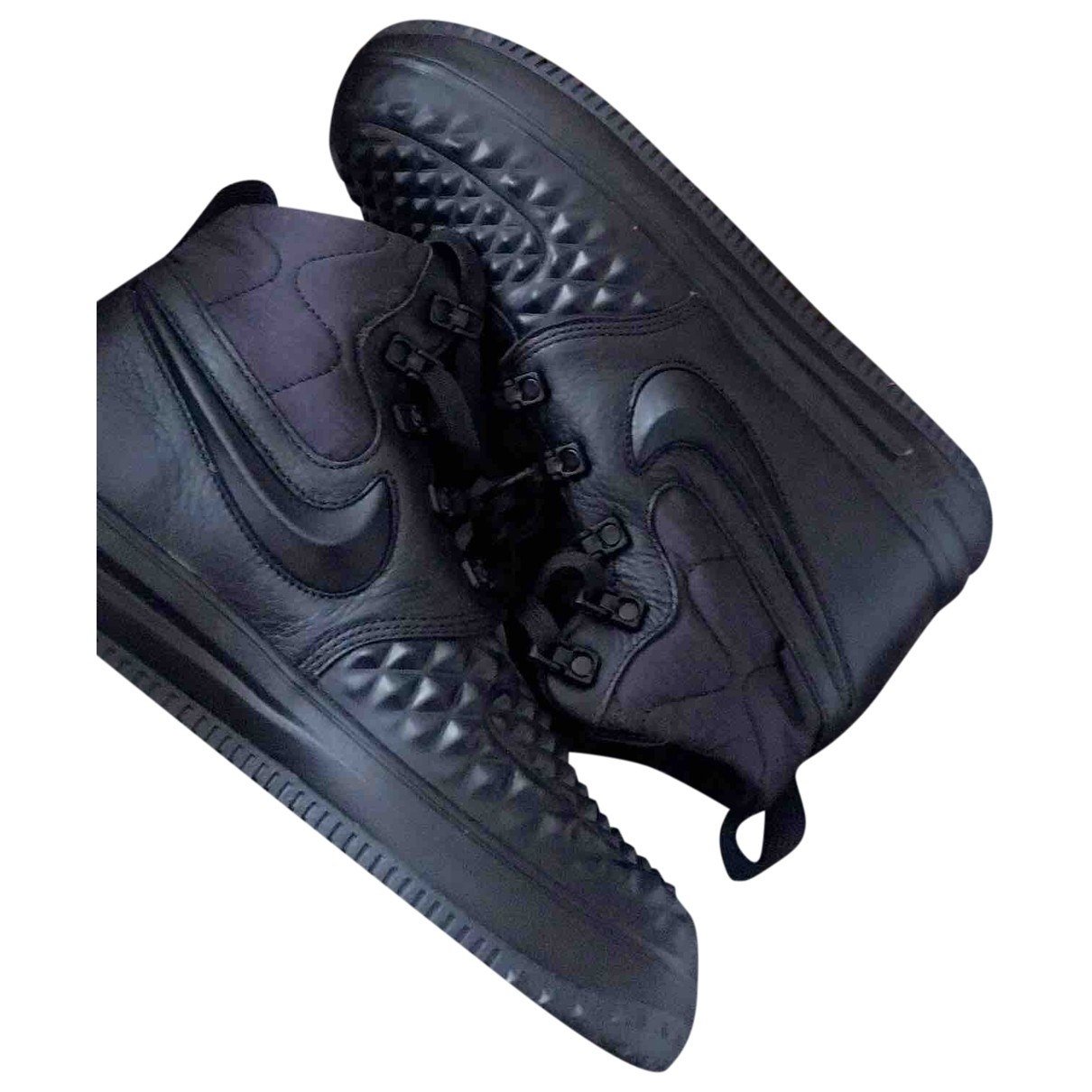 Nike Air Force 1 Black Leather Trainers for Women 38 EU